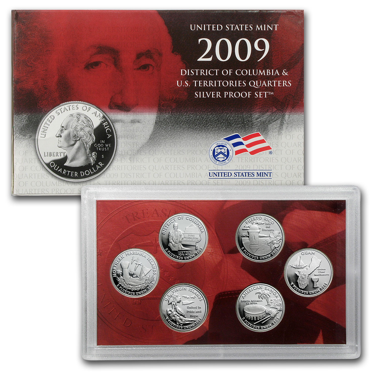 2009 D.C. and U.S. Territories Quarters Silver Proof Set